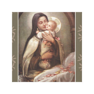 St. Therese Baby Jesus Manger Pink Roses Canvas Print