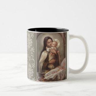 St. Therese Baby Jesus Manger Pink Roses Two-Tone Coffee Mug