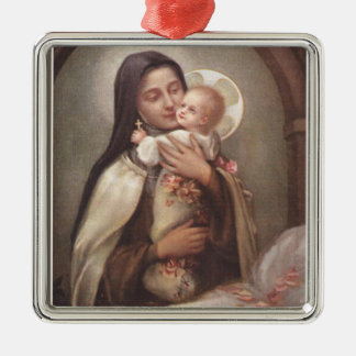 St. Therese Baby Jesus Manger Roses Metal Ornament