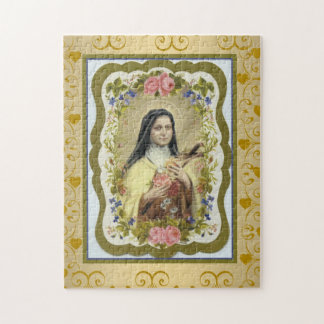 St. Therese Little Flower Crucifix Roses Border Jigsaw Puzzle