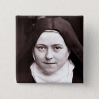 ST THERESE OF LISIEUX, THE LITTLE FLOWER, 2 INCH SQUARE BUTTON