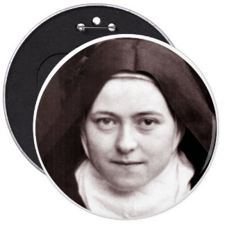 ST THERESE OF LISIEUX, THE LITTLE FLOWER, 6 INCH ROUND BUTTON