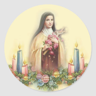 St. Therese of Lisieux with Christmas Candles Classic Round Sticker