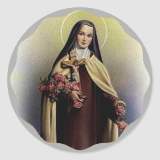 St. Therese of Lisieux with crucifix/roses Classic Round Sticker