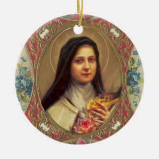 St. Therese of the Infant Jesus Roses Crucifix Round Ceramic Ornament