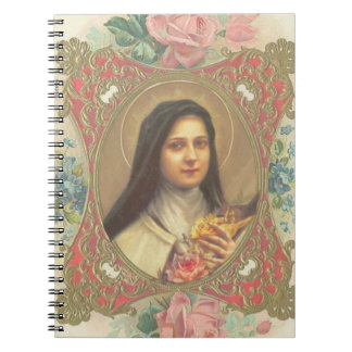 St. Therese Roses & Crucifix Decorative Border Spiral Notebook