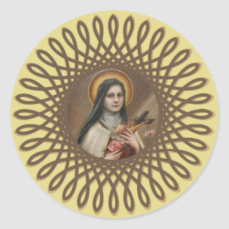 St. Therese the Little Flower Deco Border Classic Round Sticker