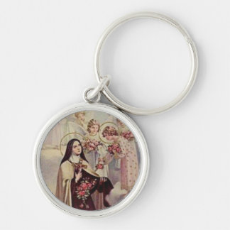 St. Therese the Little Flower Pink Roses Angels Keychain