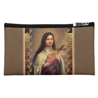 St. Therese the Little Flower Pink Roses Cosmetic Bag