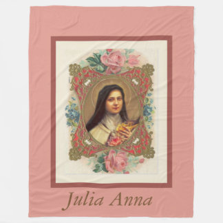 St. Therese the Little Flower Pink Roses Crucifix Fleece Blanket
