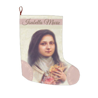 St. Therese the Little Flower Pink Roses Large Christmas Stocking