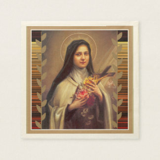 St. Therese the Little Flower Pink Roses Paper Napkin