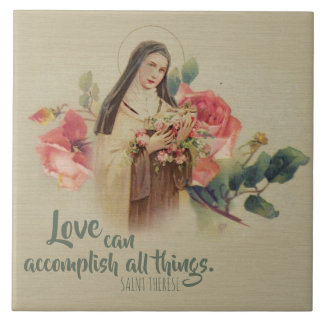 St. Therese the Little Flower Pink Roses Tile