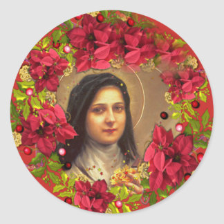 St. Therese the Little Flower poinsettia Classic Round Sticker