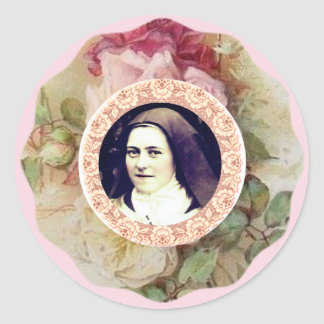 St. Therese the Little Flower Roses Classic Round Sticker