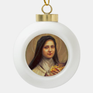 St. Therese the Little Flower Roses Crucifix Ceramic Ball Ornament