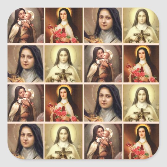 St. Therese the Little Flower Roses Crucifix Colla Square Sticker