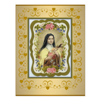 St. Therese the Little Flower Roses Crucifix Heart Postcard