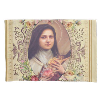 St. Therese the Little Flower Roses Crucifix Pillowcase