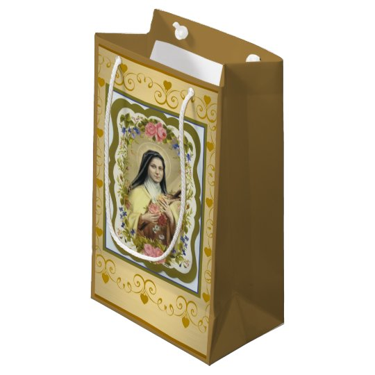 St. Therese the Little Flower Roses Crucifix Small Gift Bag