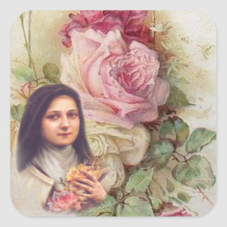 St. Therese Vintage Victorian pink and white Roses Square Sticker