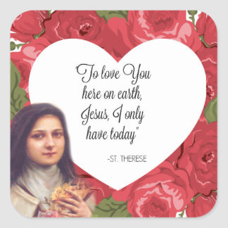 St. Therese Vintage Victorian Red Roses Square Sticker