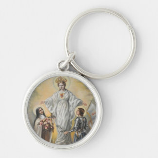 St. Therese, Virgin Mary, St. Joan of Arc Roses Keychain