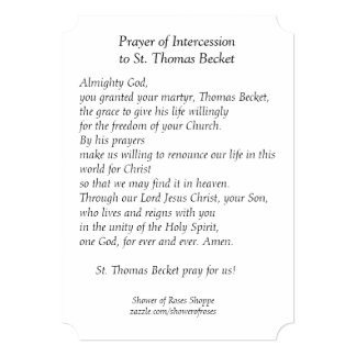 St. Thomas Becket Prayer Holy Card