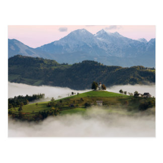 St. Thomas church with mountains in Slovenia card