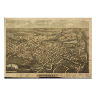 St Thomas Ontario 1896 Antique Panoramic Map Posters