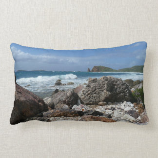 St. Thomas Rocky Beach Tropical Landscape Lumbar Pillow