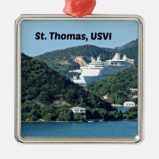 St. Thomas Silver-Colored Square Ornament