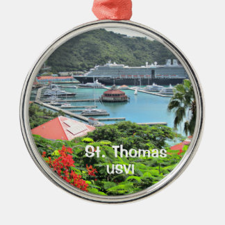 St. Thomas USVI Silver-Colored Round Ornament