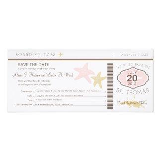 "St. Thomas Wedding Boarding Pass 4"" X 9.25"" Invitation Card"