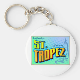 ST. TROPEZ BASIC ROUND BUTTON KEYCHAIN