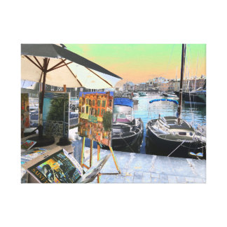 St Tropez colorful artwork waterfront Marina Canvas Print