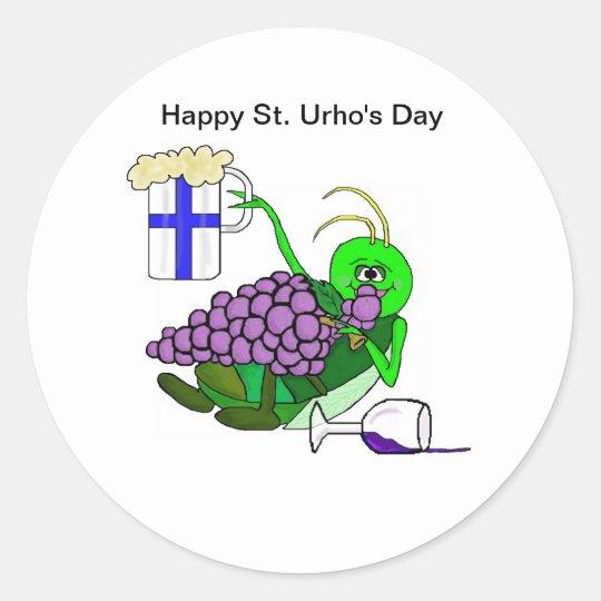 St. Urho's Day Stickers with Drunken Grasshopper