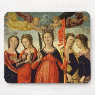St. Ursula and Four Saints (tempera on panel) Mouse Pad