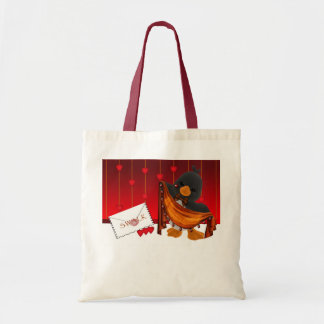 St.Valentine's Day Bag, Valentine Penguin Hearts Budget Tote Bag