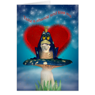 St.Valentine's Day Card With Frog On A Mushroom