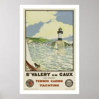 St Valery En Caux, Tennis Casino Yachting Poster