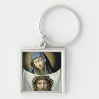 St. Veronica Silver-Colored Square Keychain