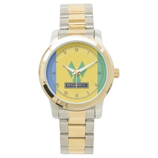 ST. Vincent Flag Custom Name Wristwatch