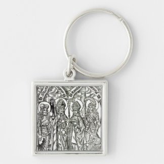 St. Wenceslaus, Adalbert,Stanislaus St. Florian Silver-Colored Square Keychain