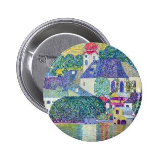 St. Wolfgang Church by Gustav Klimt, Victorian Art 2 Inch Round Button