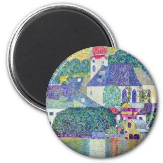 St. Wolfgang Church by Gustav Klimt, Victorian Art 2 Inch Round Magnet