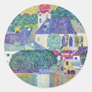 St Wolfgang Church by Klimt Classic Round Sticker