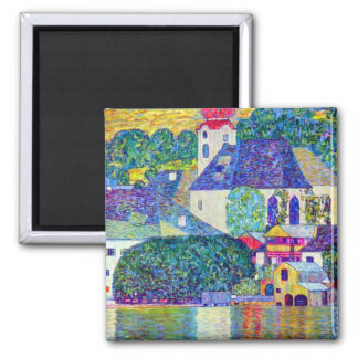St Wolfgang church in Unterach on Lake Atter Klimt Square Magnet