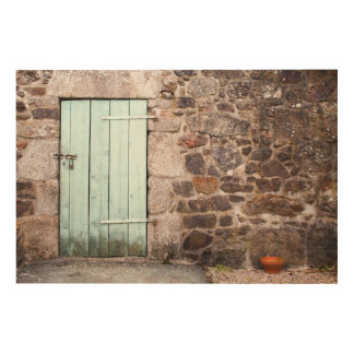 Stable Door and Stone Wall Wood Wall Art