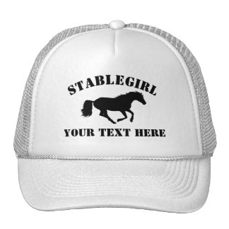 Stablegirl with horse and custom text trucker hat